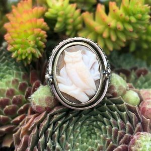 Jewelry - Cameo Owl Moss Agate SilverFlip Ring 7.5